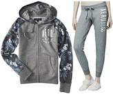 Aeropostale Women's Flowery Raglan Graphic Two-Pieces Set Of Full Zip up Hoodie and Jogger Pants