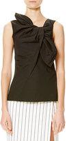 Carolina Herrera Sleeveless Cotton-Blend Bow Top, Black