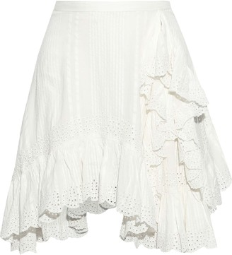 Love Sam Ruffled Striped Broderie Anglaise Cotton Mini Skirt