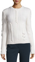 Thierry Mugler Pierced Cable-Knit Sweater, Off White