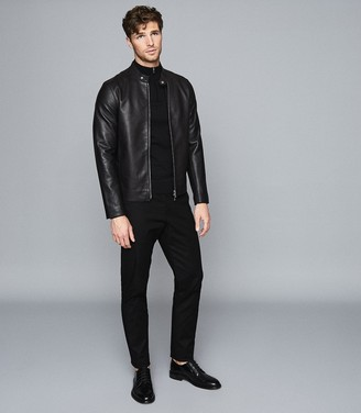 Reiss Blackhall - Merino Wool Zip Neck Jumper in Black