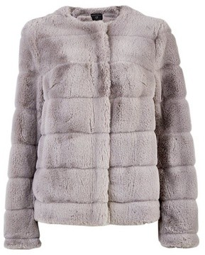 Dorothy Perkins Womens Grey Short Faux Fur Jacket, Grey