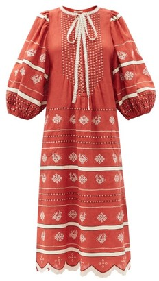 Vita Kin Vitebsk Pussy-bow Linen Midi Dress - Red White
