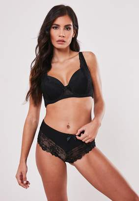 Missguided Black Fuller Bust Lace Padded Bra And Knicker Set