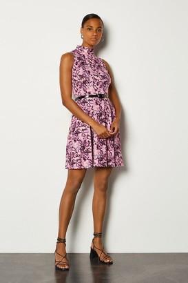 Karen Millen Jersey Funnel Sleeveless Dress With Belt