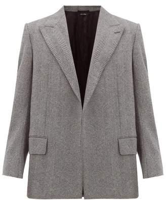 Dunhill Open-front Wool-herringbone Blazer - Mens - Light Grey