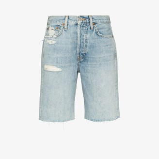 RE/DONE Womens Blue '80s Distressed Denim Shorts