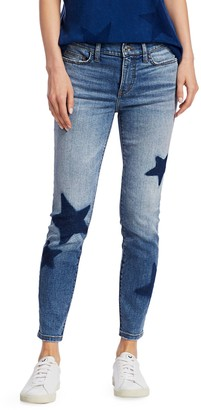 Current/Elliott Star-Embroidered Ankle Skinny Stiletto Jeans