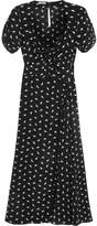 Miu Miu Printed Silk Crepe De Chine Midi Dress - Black