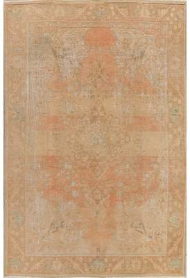 "Charlton Home Obaseki Muted Persian Oriental Hand-Knotted Wool Distressed Area Rug 9'7""X6'3"" Charlton Home"