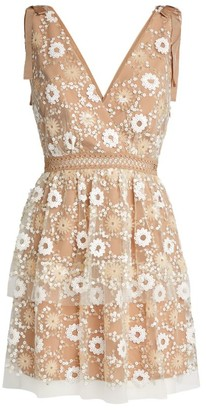 Self-Portrait Floral Sequin Tiered Midi Dress