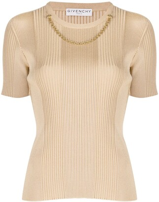 Givenchy Chain Link Ribbed Knitted Top