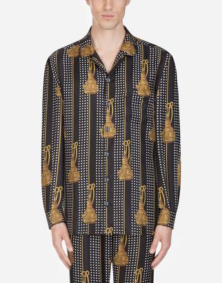 Dolce & Gabbana Pajama Shirt In Printed Silk