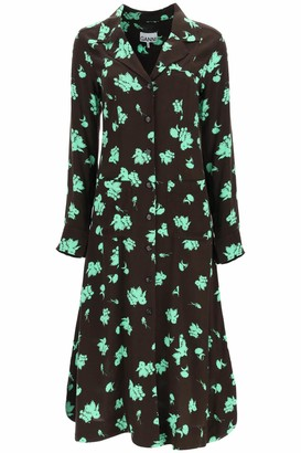 Ganni PRINTED SHIRT DRESS 36 Brown, Green