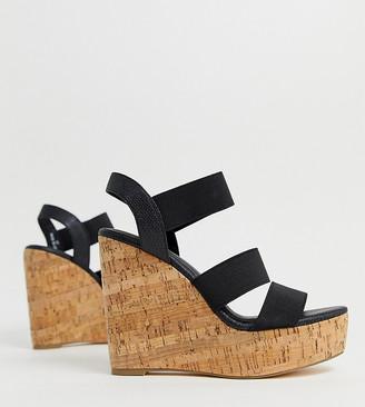 London Rebel wide fit high heeled cork wedges-Black