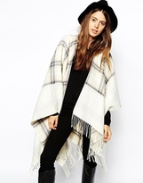 ASOS Reversible Cape With Check Panel - Cream