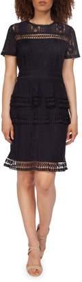 Dex Tiered Crochet Lace Sheath Dress