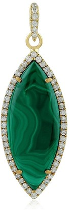 Artisan Yellow Gold Natural Diamond Malachite Pendant Semiprecious Stone Jewelry with Jewelry Box Black Friday Sale