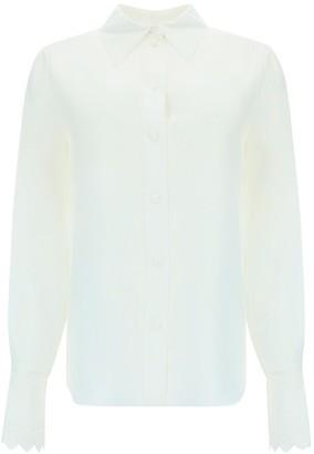 Chloé Embroidered Scallop Cuff Shirt