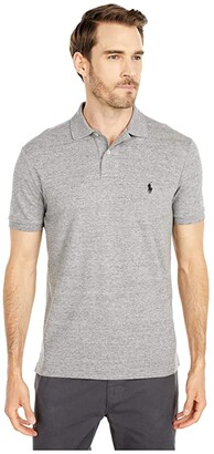 Polo Ralph Lauren Custom Slim Fit Mesh Polo (Black Marl Heather) Men's Clothing