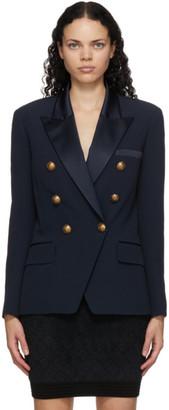 Balmain Navy Crepe Oversized Blazer