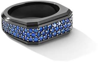 David Yurman The Pave Roman Signet Black Titanium-Plated Sterling Silver & Blue Sapphire Ring