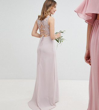 TFNC Petite Petite Lace Up Back Maxi Bridesmaid Dress-Brown