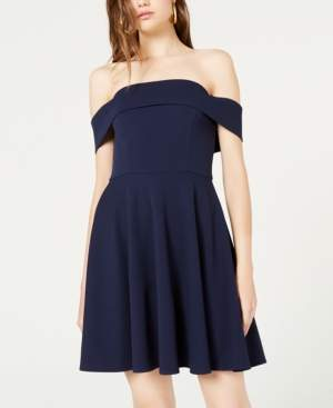 City Studios Juniors' Off-The-Shoulder Fit & Flare Dress