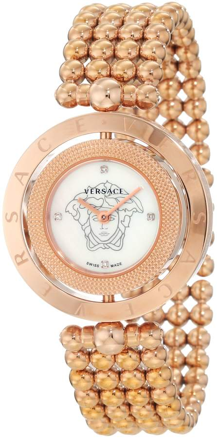 Versace Women's 79Q80SD497 S080 Eon Two Rings Rose-Gold Plated Mother-Of-Pearl Diamond Steel Watch