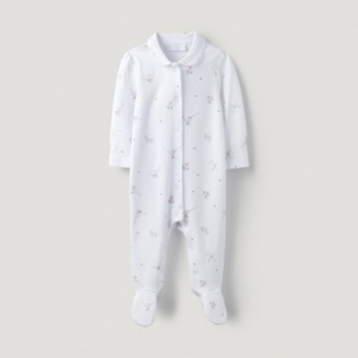 The White Company Organic Cotton Fairy Collared Sleepsuit, White, 3-6mths