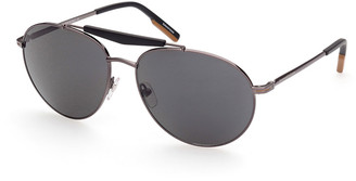 Ermenegildo Zegna Men's Metal Double-Bridge Aviator Sunglasses