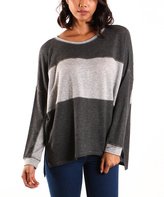 La Femme Heather Charcoal & Heather Gray Colorblock Dolman Top