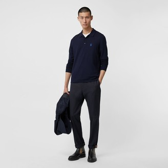 Burberry Long-sleeve onogra otif erino Wool Polo Shirt