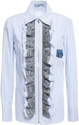 Prada Brocade-trimmed Appliqued Striped Cotton-poplin Shirt