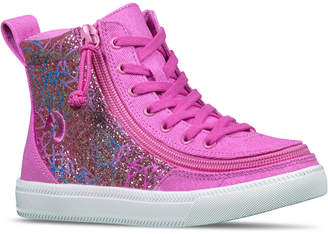 Finish Line Billy Little Girls Printed Canvas Classic Lace High Top Casual Sneakers from