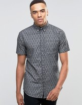Jack and Jones Diamond Print Short Sleeve Shirt
