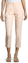 Carven Cropped Crepe Pants, Beige
