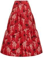 RED Valentino Jacquard Monkey Midi Skirt