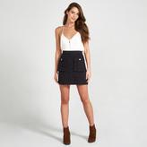 Apricot Black Double Pocket Mini Skirt