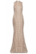 Quiz Champagne And Gold Sequin High Neck Fishtail Maxi Dress