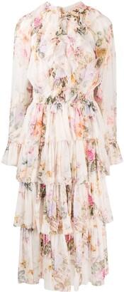 Zimmermann Brighton tiered frill midi dress