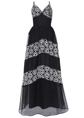True Decadence Black Lace Organza Mix Maxi Dress