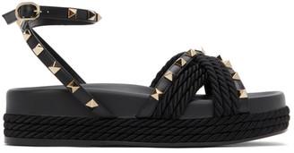 Valentino Black Garavani Cord Rockstud Ankle Strap Sandals