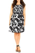 City Chic Plus Size Women's 'Double Take' Print Mock Two-Piece Dress