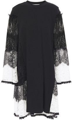 McQ Lace-paneled French Cotton-blend Terry Dress