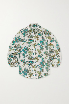 Victoria Victoria Beckham Gathered Floral-print Crepe Shirt - Green