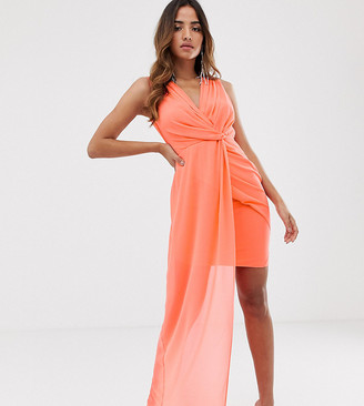 TFNC wrap front dress with asymmetric hem in coral
