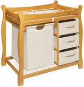 The Well Appointed House Honey Sleigh Style Changing Table with Hamper and 3 Baskets