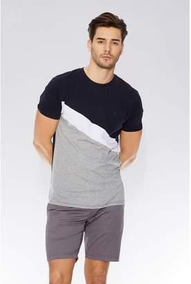 Quiz Navy & Grey Stripe Slim Fit T-Shirt