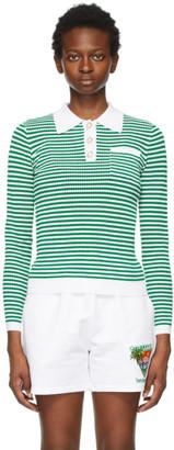 Casablanca Green and White Grandpa Tennis Long Sleeve Polo